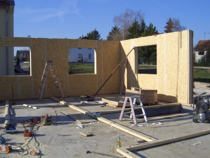 Aufbau Holzständerhaus Nehren Holzbau Saur